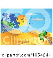 Royalty Free Vector Clip Art Illustration Of A Desert Landscape At Sunset