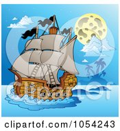 Royalty Free Vector Clip Art Illustration Of A Pirate Ship At Night 4