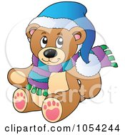 Royalty Free Vector Clip Art Illustration Of A Winter Teddy Bear by visekart