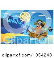 Royalty Free Vector Clip Art Illustration Of A Pirate Paddling A Boat 1