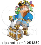Royalty Free Vector Clip Art Illustration Of A Pirate Stepping On A Treasure Chest