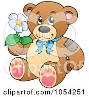 Royalty Free Vector Clip Art Illustration Of A Teddy Bear Holding A Daisy by visekart