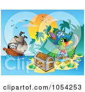 Royalty Free Vector Clip Art Illustration Of A Pirate Parrot With Treasure Near A Ship