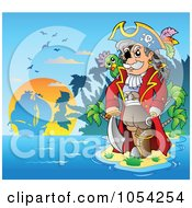 Royalty Free Vector Clip Art Illustration Of A Pirate Standing On An Island