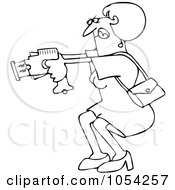 Royalty Free Vector Clip Art Illustration Of A Black And White Woman Using A Taser Outline by Dennis Cox