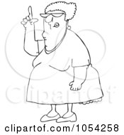 Royalty Free Vector Clip Art Illustration Of A Black And White Woman Pointing Up Outline
