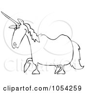 Royalty Free Vector Clip Art Illustration Of A Black And White Unicorn Outline by djart