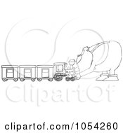 Royalty Free Vector Clip Art Illustration Of A Black And White Santa And Train Outline
