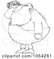 Royalty Free Vector Clip Art Illustration Of A Black And White Santa Using A Cam Corder Outline