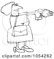 Royalty Free Vector Clip Art Illustration Of A Black And White Lady Using A Taser Outline by Dennis Cox