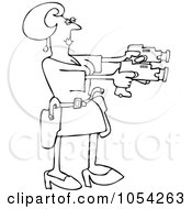 Royalty Free Vector Clip Art Illustration Of A Black And White Woman Using Two Tasers Outline by Dennis Cox