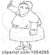 Royalty Free Vector Clip Art Illustration Of A Black And White Woman Holding A Thumb Up Outline by djart
