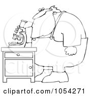 Black And White Santa Using A Microscope Outline