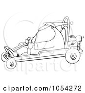 Royalty Free Vector Clip Art Illustration Of A Black And White Santa Driving A Go Kart Outline