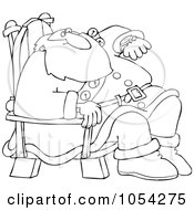 Royalty Free Vector Clip Art Illustration Of A Black And White Santa Checking His Watch Outline