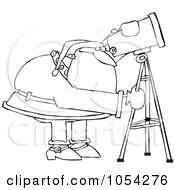 Royalty Free Vector Clip Art Illustration Of A Black And White Santa Using A Telescope Outline by Dennis Cox