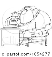 Royalty Free Vector Clip Art Illustration Of A Black And White Santa And Microscope Outline by Dennis Cox