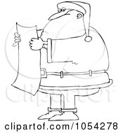 Royalty Free Vector Clip Art Illustration Of A Black And White Santa Reading A List Outline