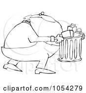Black And White Santa Taking Out Garbage Outline