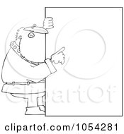 Royalty Free Vector Clip Art Illustration Of A Black And White Santa With A Big Sign Outline