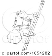 Royalty Free Vector Clip Art Illustration Of A Black And White Santa Climbing A Ladder Outline