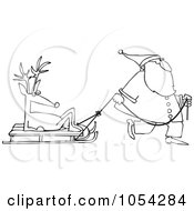 Royalty Free Vector Clip Art Illustration Of A Black And White Santa Pulling A Reindeer On A Sled Outline by djart
