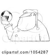 Black And White Santa Holding A Globe Outline