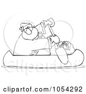 Royalty Free Vector Clip Art Illustration Of A Black And White Santa Canoeing Outline by djart