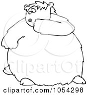 Royalty Free Vector Clip Art Illustration Of A Black And White Scared Groundhog Outline by Dennis Cox