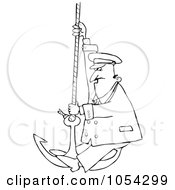 Royalty Free Vector Clip Art Illustration Of A Black And White Captain On An Anchor Outline by djart
