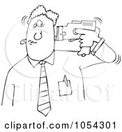 Royalty Free Vector Clip Art Illustration Of A Black And White Man Tasering Himself Outline by Dennis Cox