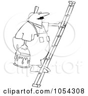 Royalty Free Vector Clip Art Illustration Of A Black And White Painter On A Ladder Outline