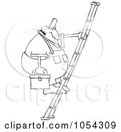 Royalty Free Vector Clip Art Illustration Of A Black And White Man On A Ladder Outline