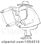 Royalty Free Vector Clip Art Illustration Of A Black And White Rabbi With Torah Outline by djart