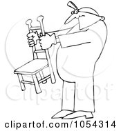 Royalty Free Vector Clip Art Illustration Of A Black And White Man Holding A Chair Outline by djart