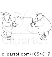 Royalty Free Vector Clip Art Illustration Of A Black And White Sign Movers Outline