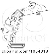 Royalty Free Vector Clip Art Illustration Of A Black And White Men Installing Solar Panels Outline by djart