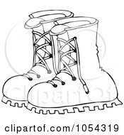 Royalty Free Vector Clip Art Illustration Of A Black And White Boots Outline by djart