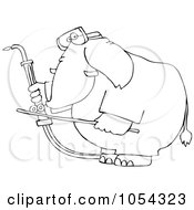 Royalty Free Vector Clip Art Illustration Of A Black And White Welding Elephant Outline by djart