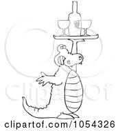 Royalty Free Vector Clip Art Illustration Of A Black And White Alligator Serving Wine by djart