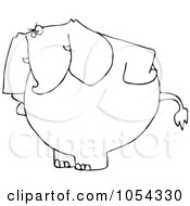 Black And White Mad Elephant Outline
