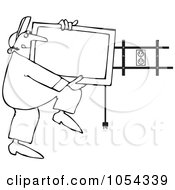 Royalty Free Vector Clip Art Illustration Of A Black And White TV Installer Outline by djart