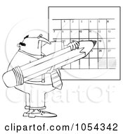 Royalty Free Vector Clip Art Illustration Of A Black And White Man Writing On A Calendar Outline by djart
