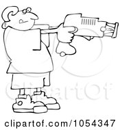 Royalty Free Vector Clip Art Illustration Of A Black And White Boy Using A Taser Outline by Dennis Cox