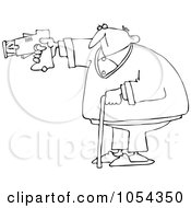 Royalty Free Vector Clip Art Illustration Of A Black And White Old Man Using A Taser Outline by Dennis Cox