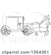 Royalty Free Vector Clip Art Illustration Of A Black And White Amish Buggy Outline
