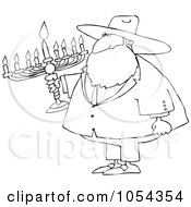 Royalty Free Vector Clip Art Illustration Of A Black And White Rabbi And Menorah Outline by djart