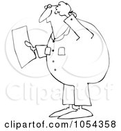 Royalty Free Vector Clip Art Illustration Of A Black And White Confused Worker Outline