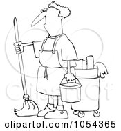 Royalty Free Vector Clip Art Illustration Of A Black And White Man Mopping Outline by djart
