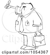 Royalty Free Vector Clip Art Illustration Of A Black And White Hitchhiking Businessman Outline by djart